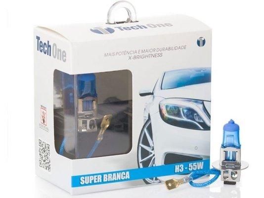 Par Lâmpada Super Branca H3 8500K 12V 55W Efeito Xênon - Tech One