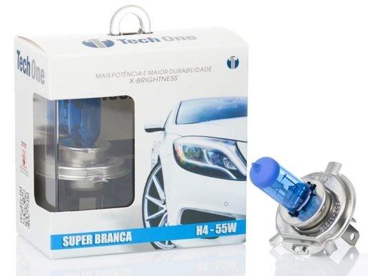 Par Lâmpada Super Branca H4 8500K 12V 55W Efeito Xênon - Tech One