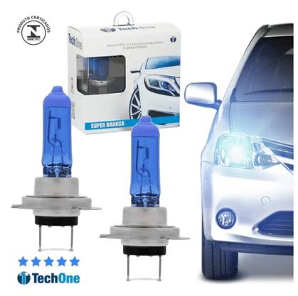 Par Lâmpada Super Branca H7 8500K 12V 55W Efeito Xênon - Tech One