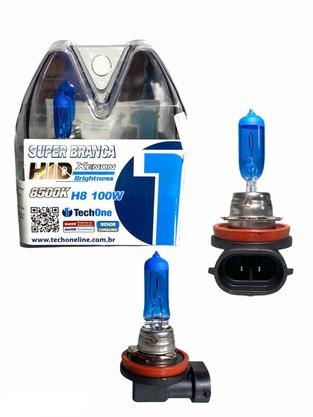 Par Lâmpada Super Branca H8 8500K 12V 100W Efeito Xênon - Tech One