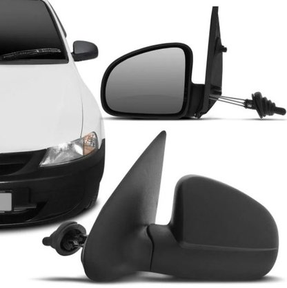 Retrovisor Celta 2000 a 2006 Preto com Controle Interno e Espelho Lado Esquerdo Motorista