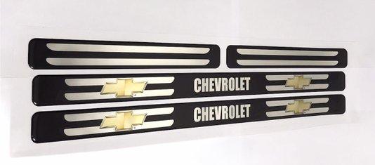 Kit Soleira de Porta Universal GM Chevrolet Protetora Resinada Preta