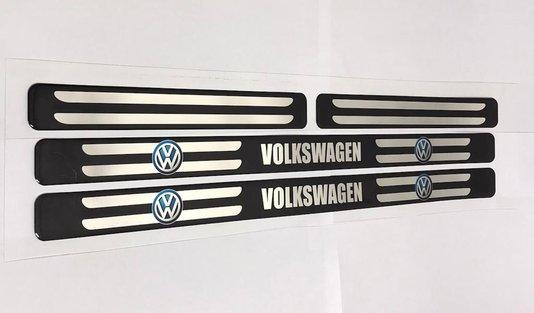 Kit Soleira de Porta Universal Volkswagen Protetora Resinada Preta